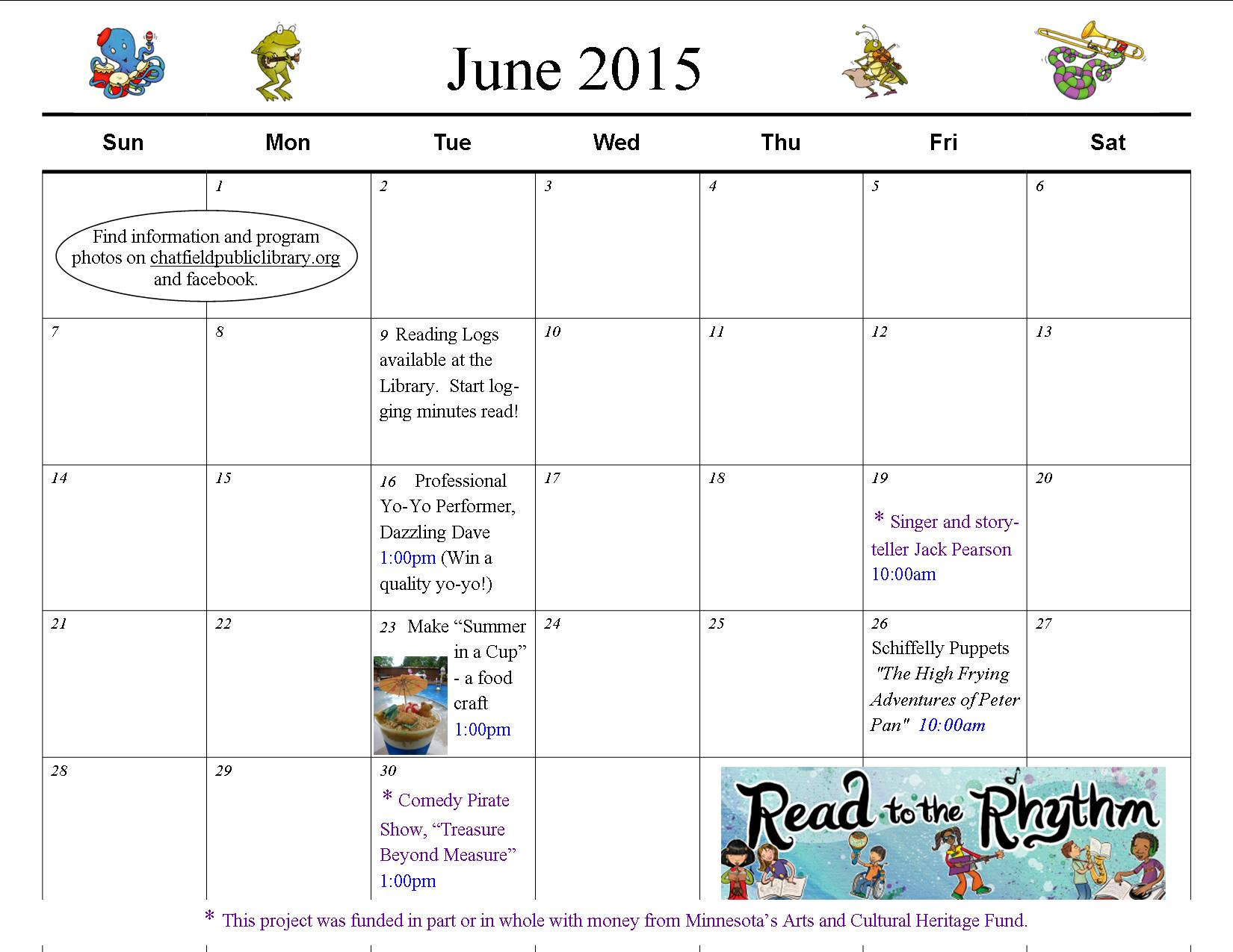 June Calendar Girl Read : June calendar summer reading program chatfield public