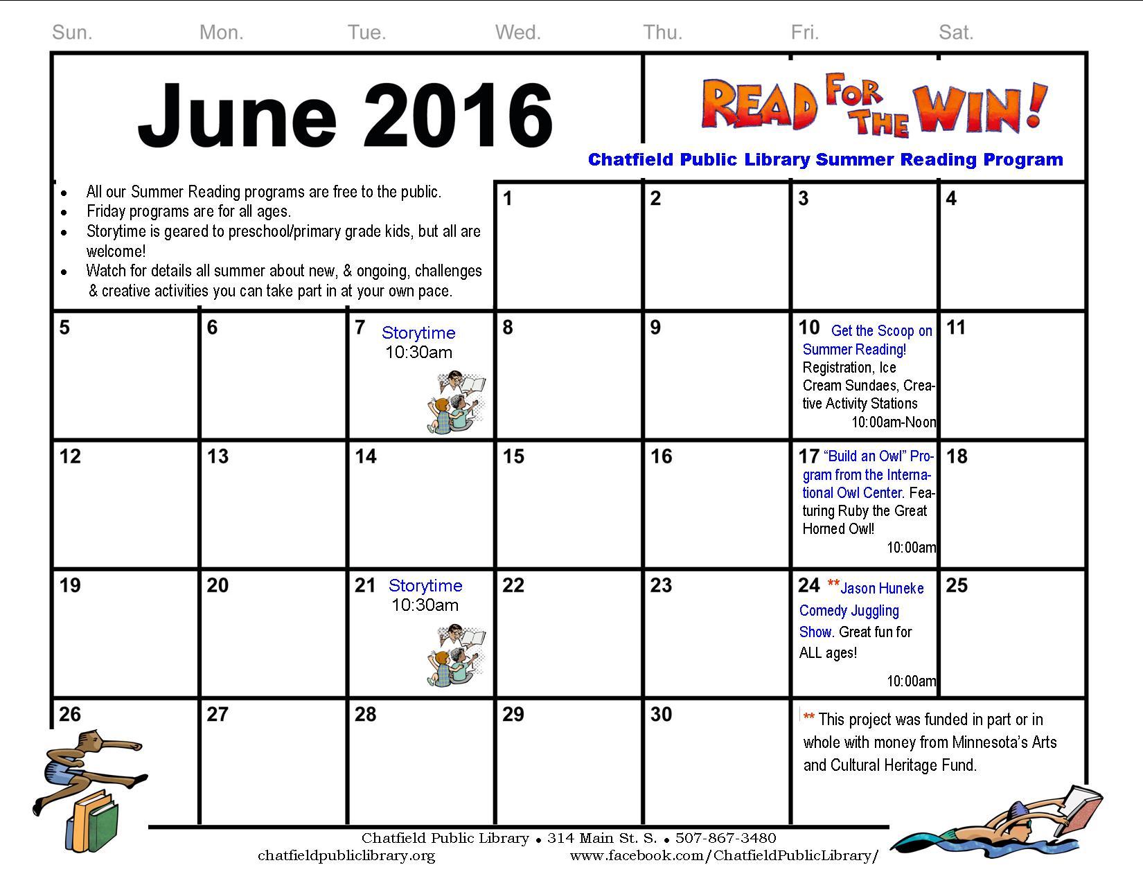 June calendar 2016