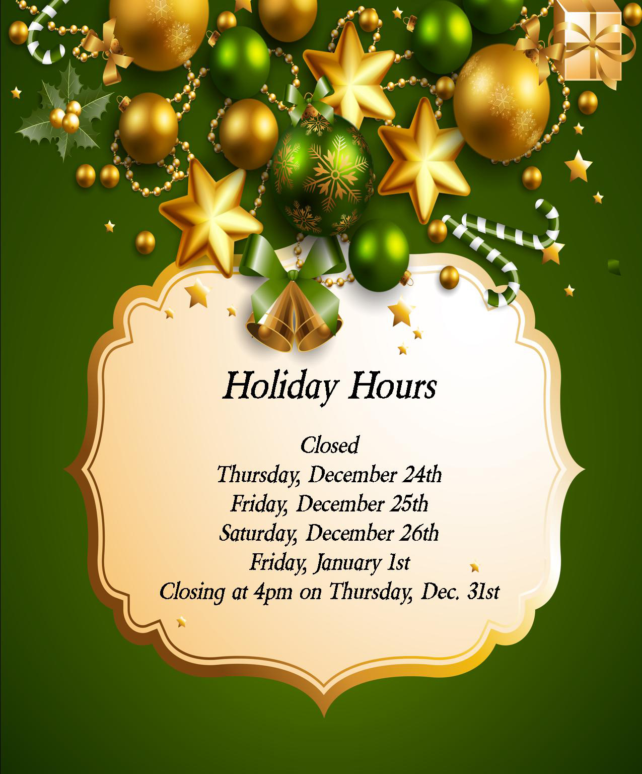 Christmas hours poster 2015