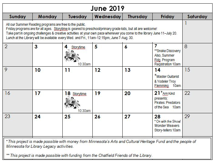 June Summer Reading Program Calendar