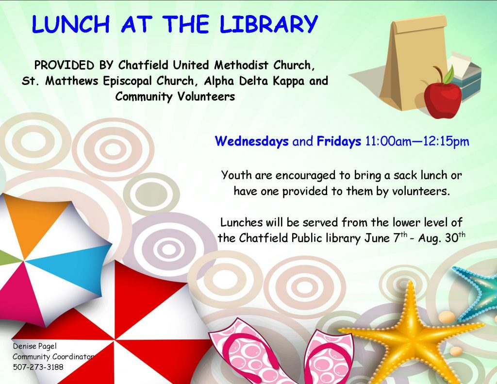 Lunch at the Library every Wednesday and Friday, 11-12:15, June 7-Aug 30