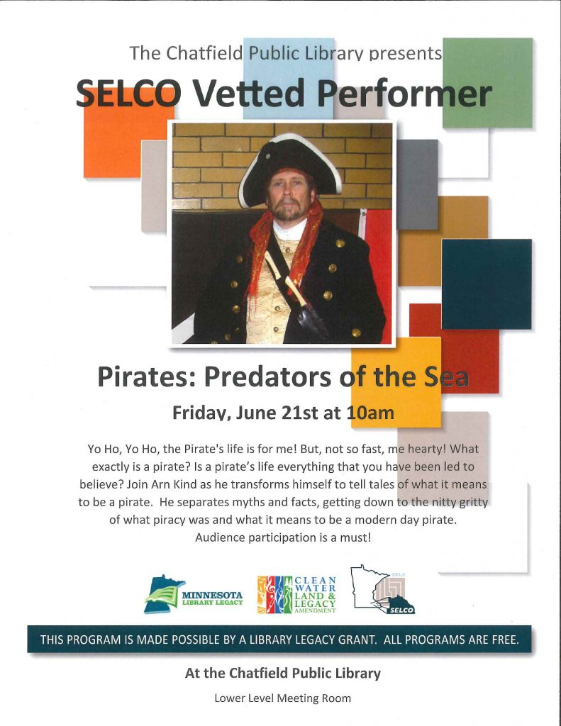Arn Kind presents Pirates: Predators of the Sea at the Library on Friday, June 21 at 10am.