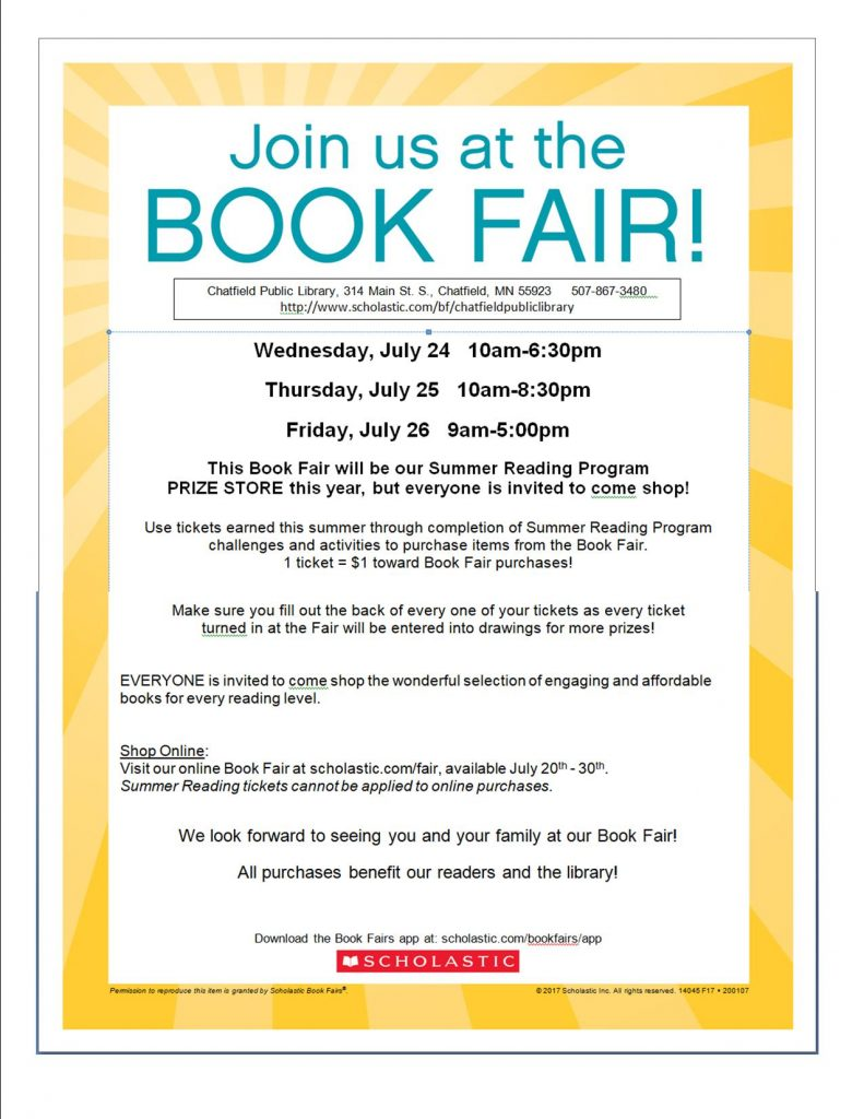 Book Fair at the Library July 24 through July 26, online ordering open now.