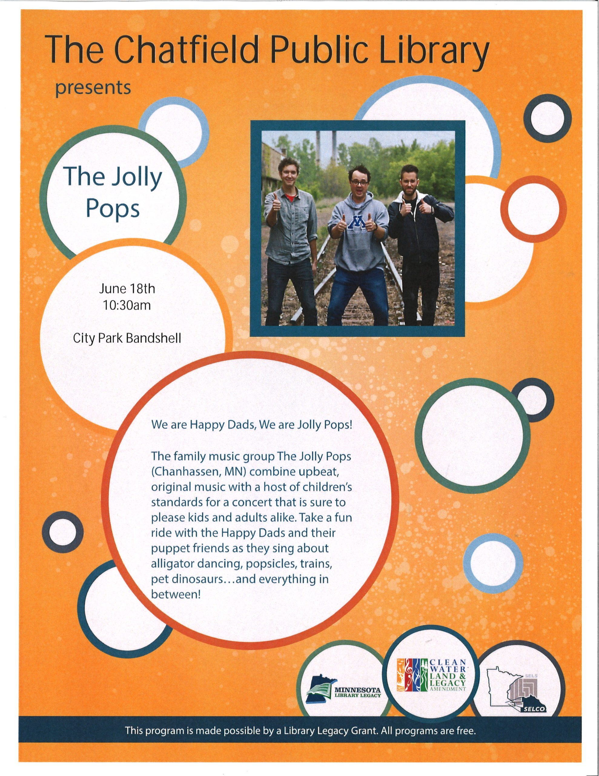 Jolly Pops family concert June 18th at 10:30am city park