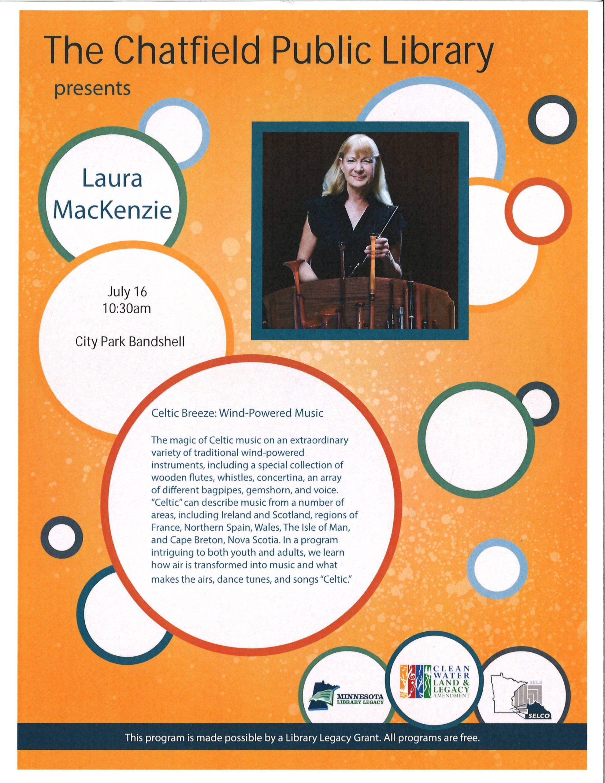 """Laura MacKenzie """"Celtic Breeze"""" concert, July 16 at 10am in City Park"""