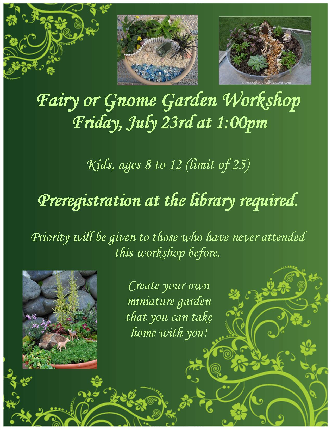 Fairy Garden Workshop at Chatfield Public Library, July 23 at 1pm, registration required